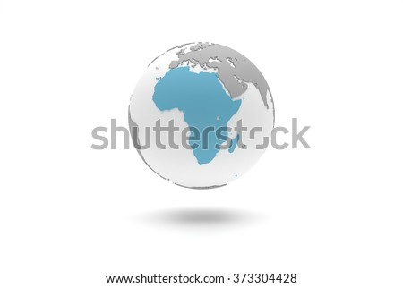 Highly detailed 3D planet Earth globe with grey continents in relief and white oceans, centered in blue Africa - stock photo