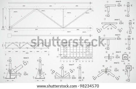 Highly detailed drawing of industrial truss. Raster version - stock photo