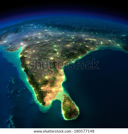 Highly detailed Earth, illuminated by moonlight. The glow of cities sheds light on the detailed exaggerated terrain. Night Earth. India and Sri Lanka. Elements of this image furnished by NASA - stock photo