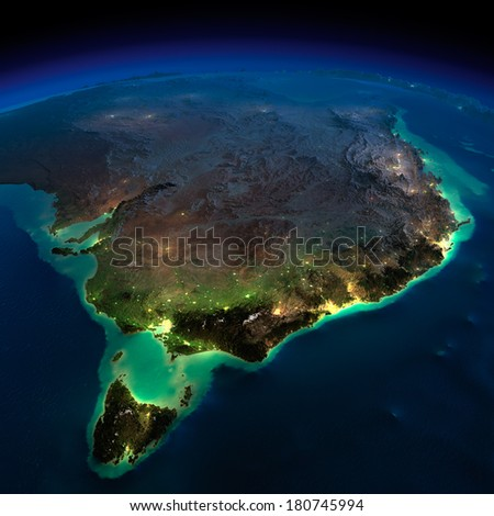 Highly detailed Earth, illuminated by moonlight. The glow of cities sheds light on the detailed exaggerated terrain and translucent water of the oceans. Elements of this image furnished by NASA - stock photo