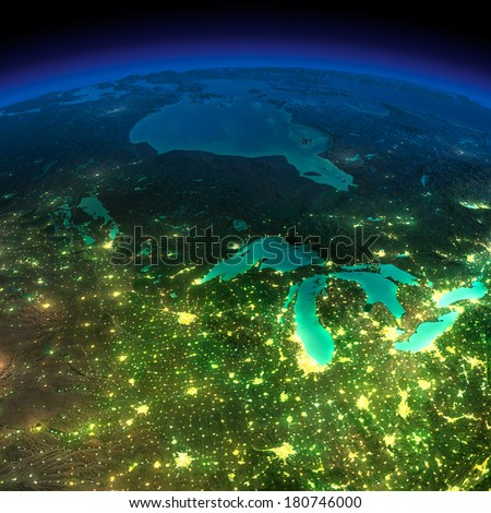 Highly detailed Earth, illuminated by moonlight. The glow of cities sheds light on the detailed exaggerated terrain. Northern U.S. states and Canada. Elements of this image furnished by NASA - stock photo