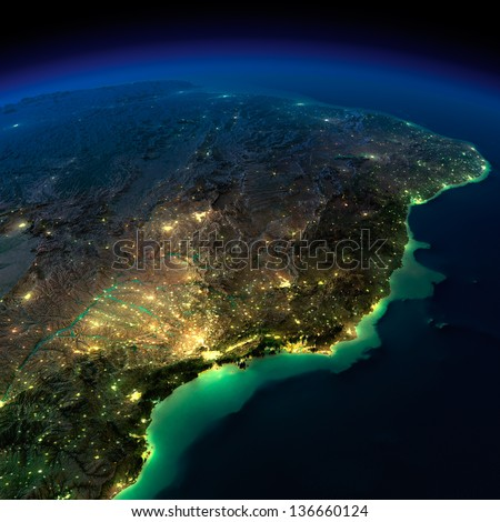 Highly detailed Earth, illuminated by moonlight. The glow of cities sheds light on the exaggerated terrain and translucent water. South America, Brazil. Elements of this image furnished by NASA - stock photo