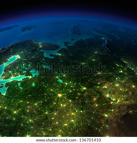 Highly detailed Earth, illuminated by moonlight. The glow of cities sheds light on the exaggerated terrain and translucent water of the oceans. Europe, Russia. Elements of this image furnished by NASA - stock photo