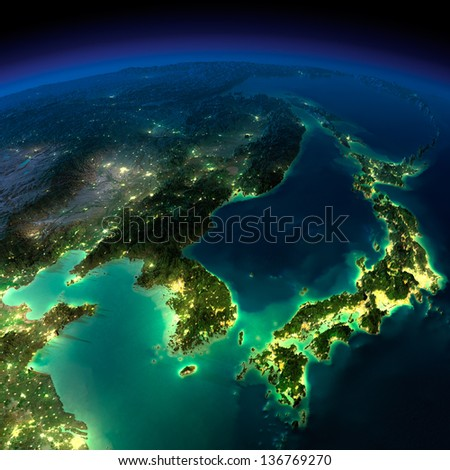 Highly detailed Earth, illuminated by moonlight. The glow of cities sheds light on the exaggerated terrain and translucent water.  Korea, Japan and China. Elements of this image furnished by NASA - stock photo