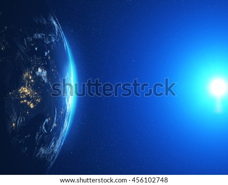 Highly detailed epic moon over world skyline. Planet earth Australia zone with night time city. 3D Rendering animation using satellite imagery (NASA)