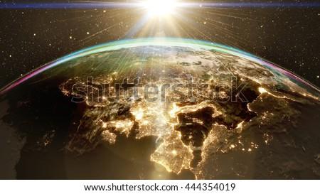 Highly Detailed Epic Sunrise Over World Stock Illustration - Detailed satellite imagery