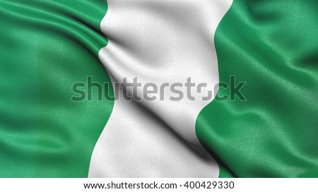 Highly detailed flag of Nigeria waving in the wind. 3d illustration. - stock photo