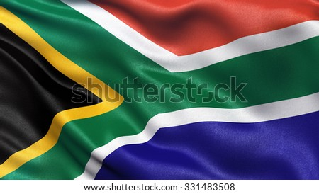 Highly detailed flag of South Africa waving in the wind. - stock photo