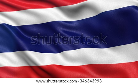 Highly detailed flag of Thailand waving in the wind.