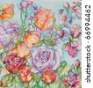 highly detailed flower done in watercolor - stock photo