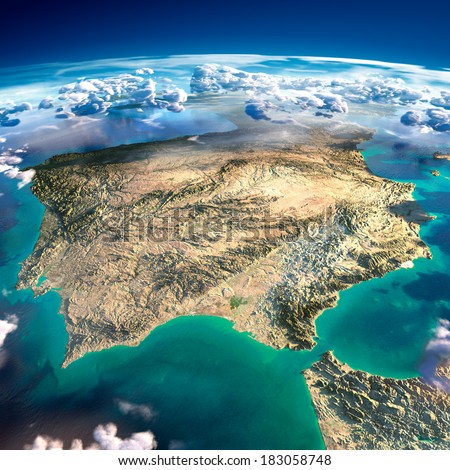 Highly detailed fragments of the planet Earth with exaggerated relief, translucent ocean and clouds, illuminated by the morning sun. Spain and Portugal. Elements of this image furnished by NASA - stock photo