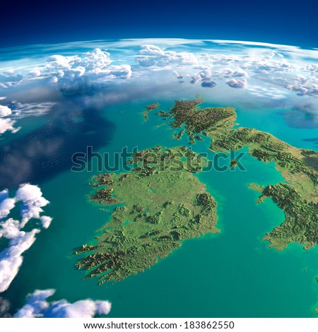 Highly detailed fragments of the planet Earth with exaggerated relief, translucent ocean and clouds, illuminated by the morning sun. Ireland and UK. Elements of this image furnished by NASA - stock photo