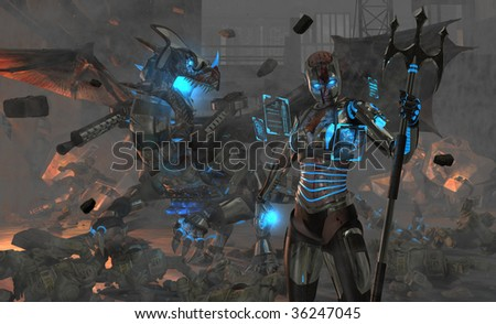 highly detailed high resolution render of a spartan type cybernetic soldier and her cyborg dragon in a war zone - stock photo