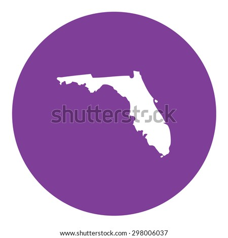 Highly detailed map inside a circle of the state of Florida
