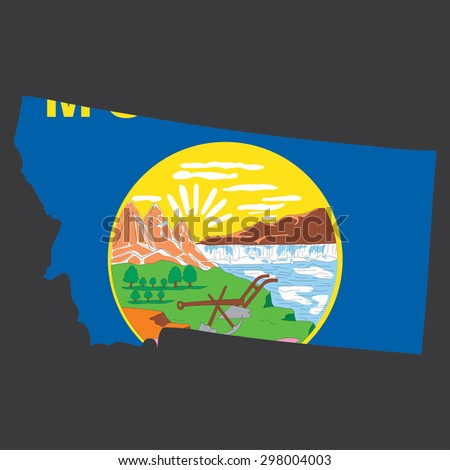 Highly detailed map with flag inside of the state of Montana