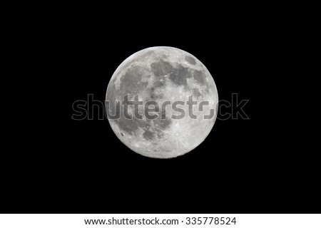 Highly detailed photo of the bright full moon in the night sky as seen through an astronomy telescope - stock photo
