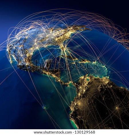 Highly detailed planet Earth at night. Earth is surrounded by a luminous network, representing the major air routes based on real data. Elements of this image furnished by NASA - stock photo