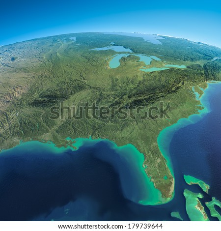 Highly detailed planet Earth in the morning. Exaggerated precise relief lit morning sun. Detailed Earth. Gulf of Mexico and Florida.  Elements of this image furnished by NASA - stock photo