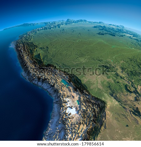 Highly detailed planet Earth in the morning. Exaggerated precise relief lit morning sun. Detailed Earth. Bolivia, Peru, Brazil. Elements of this image furnished by NASA - stock photo