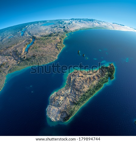 Highly detailed planet Earth in the morning. Exaggerated precise relief lit morning sun. Detailed Earth. Africa and Madagascar. Elements of this image furnished by NASA - stock photo