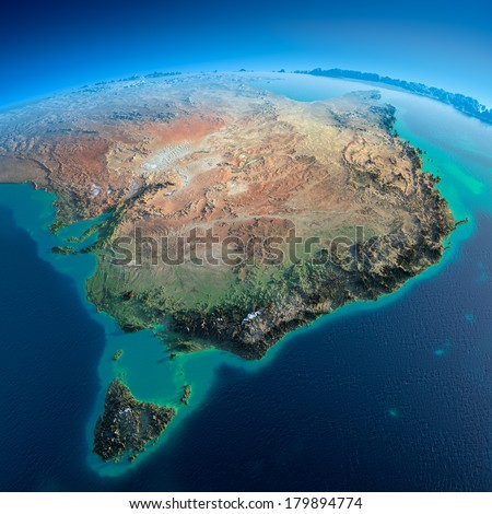 Highly detailed planet Earth in the morning. Exaggerated precise relief lit morning sun. Detailed Earth. Australia and Tasmania. Elements of this image furnished by NASA - stock photo