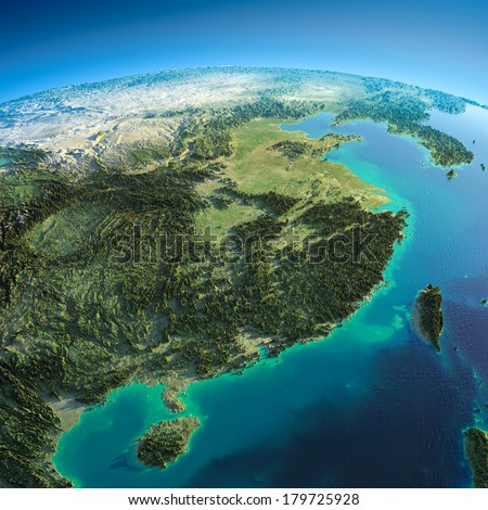 Highly detailed planet Earth in the morning. Exaggerated precise relief lit morning sun. Eastern China, Vietnam, Taiwan, Korea.  Elements of this image furnished by NASA - stock photo