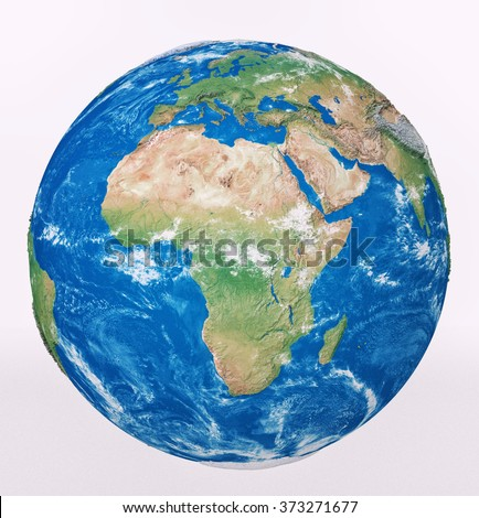 Highly detailed planet Earth isolated on white background