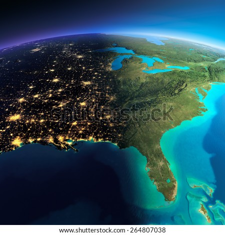 Highly detailed planet Earth. Night with glowing city lights gives way to day. The boundary of the night & day. North America. USA. Gulf of Mexico and Florida. Elements of this image furnished by NASA - stock photo