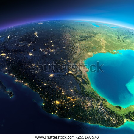 Highly detailed planet Earth. Night with glowing city lights gives way to day. The boundary of the night & day. Mexico. Elements of this image furnished by NASA - stock photo