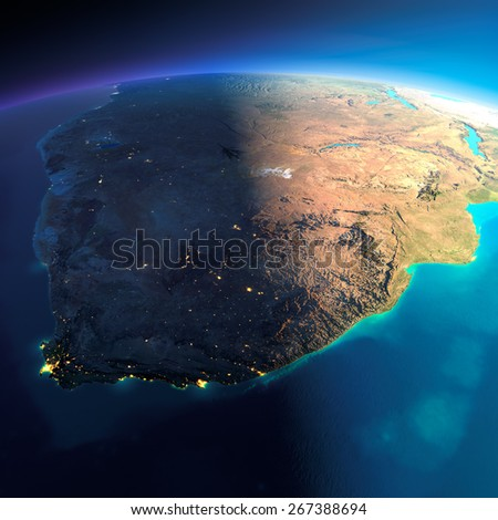 Highly detailed planet Earth. Night with glowing city lights gives way to day. The boundary of the night & day. South Africa. Elements of this image furnished by NASA - stock photo