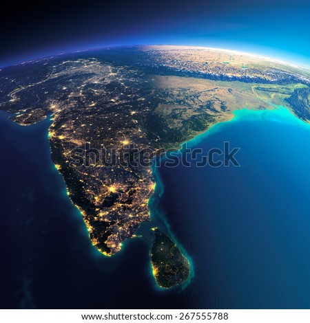 Highly detailed planet Earth. Night with glowing city lights gives way to day. The boundary of the night & day.  India and Sri Lanka. Elements of this image furnished by NASA - stock photo