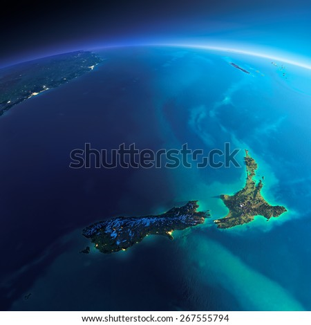 Highly detailed planet Earth. Night with glowing city lights gives way to day. The boundary of the night & day. New Zealand. Elements of this image furnished by NASA - stock photo