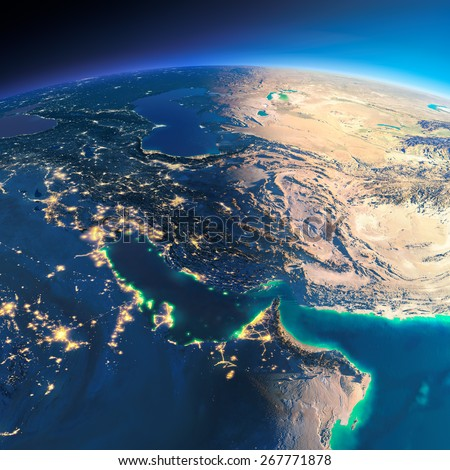 Highly detailed planet Earth. Night with glowing city lights gives way to day. The boundary of the night & day. Persian Gulf. Elements of this image furnished by NASA - stock photo