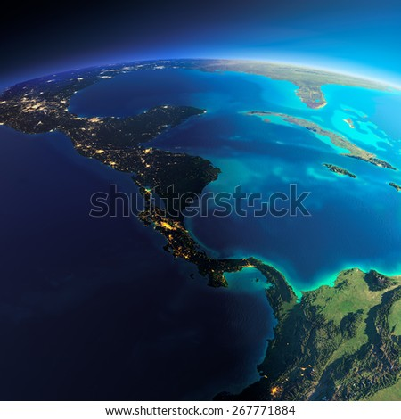 Highly detailed planet Earth. Night with glowing city lights gives way to day. The boundary of the night & day.  The countries of Central America. Elements of this image furnished by NASA - stock photo
