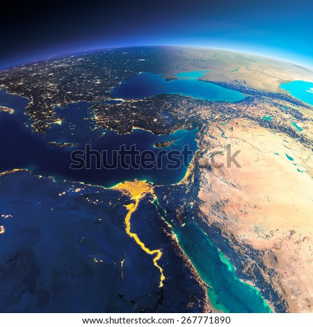 Highly detailed planet Earth. Night with glowing city lights gives way to day. The boundary of the night & day. Africa and Middle East. Elements of this image furnished by NASA - stock photo