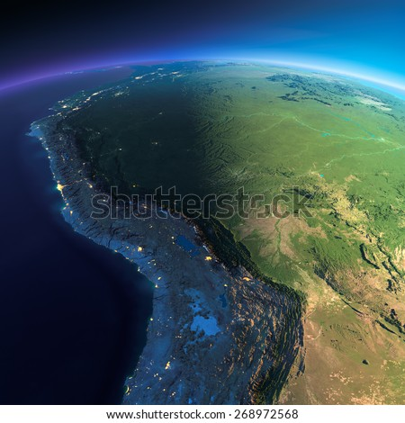 Highly detailed planet Earth. Night with glowing city lights gives way to day. The boundary of the night & day. Bolivia, Peru, Brazil. Elements of this image furnished by NASA - stock photo