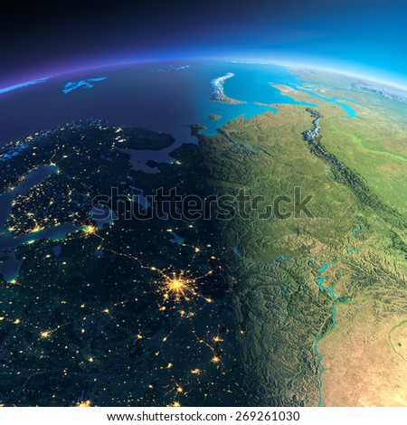 Highly detailed planet Earth. Night with glowing city lights gives way to day. The boundary of the night & day. European part of Russia. Elements of this image furnished by NASA - stock photo