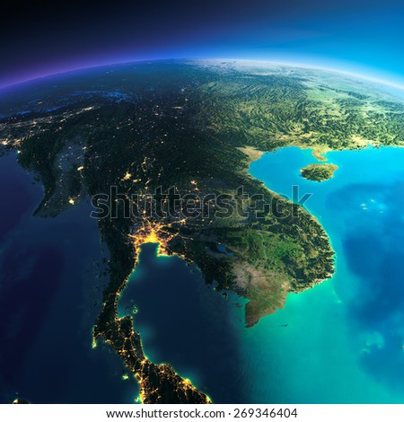 Highly detailed planet Earth. Night with glowing city lights gives way to day. The boundary of the night & day. Indochina peninsula. Elements of this image furnished by NASA - stock photo