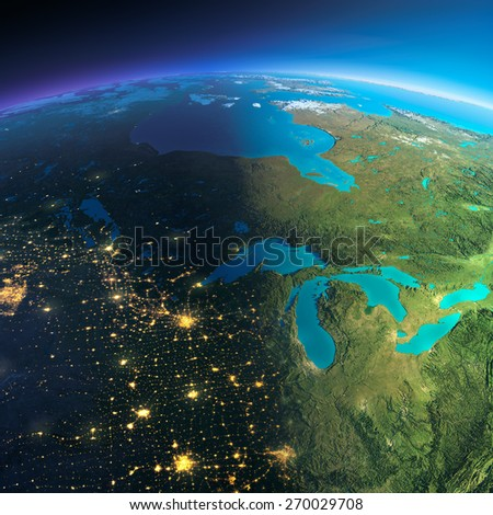 Highly detailed planet Earth. Night with glowing city lights gives way to day. The boundary of the night & day. The northern U.S. states and Canada. Elements of this image furnished by NASA - stock photo
