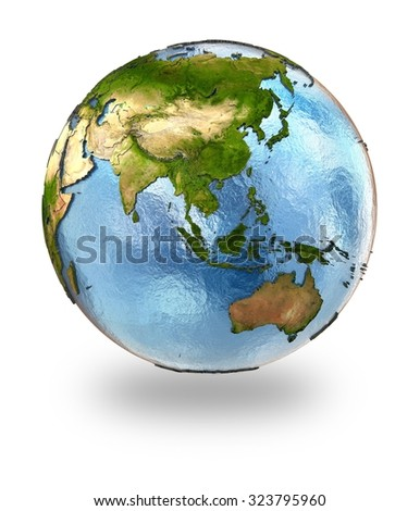 Highly detailed planet Earth with embossed continents and visible country borders featuring southeast Asia. Isolated on white background. Elements of this image furnished by NASA.