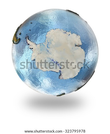 Highly detailed planet Earth with embossed continents and visible country borders featuring Antarctica. Isolated on white background. Elements of this image furnished by NASA. - stock photo