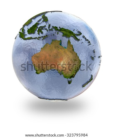 Highly detailed planet Earth with embossed continents and visible country borders featuring Australia. Isolated on white background. Elements of this image furnished by NASA. - stock photo