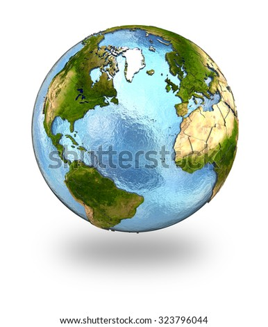 Highly detailed planet Earth with embossed continents and visible country borders featuring Europe and north America. Isolated on white background. Elements of this image furnished by NASA. - stock photo