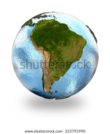Highly detailed planet Earth with embossed continents and visible country borders featuring South America. Isolated on white background. Elements of this image furnished by NASA. - stock photo
