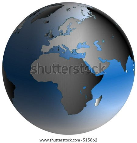 Highly-detailed world map in spherical co-ordinates, with Europe-Africa continent in view