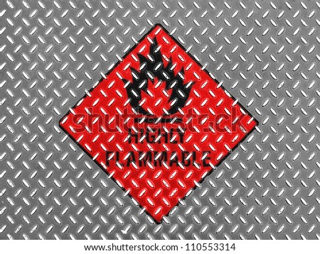 Highly flammable sign drawn on  metal floor - stock photo