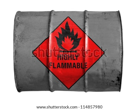 Highly flammable sign drawn on  oil barrel - stock photo