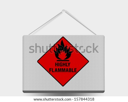 Highly flammable sign drawn on  painted on information pad - stock photo