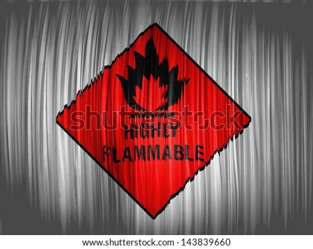 Highly flammable sign drawn on  wavy curtain - stock photo