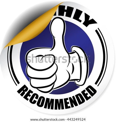 Highly Recommended blue sticker, button, label and sign. - stock photo